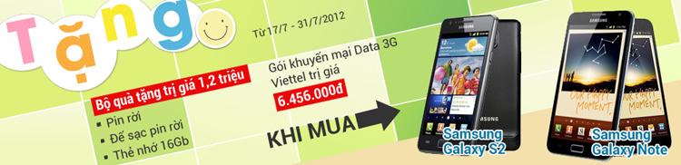Mua Samsung Galaxy SII và Galaxy Note nhận quà trị giá 7.656.000 đồng