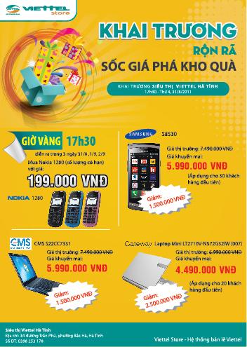 Khuyến mại lớn nhân dịp khai trương siêu thị Viettel tại Hà Tĩnh