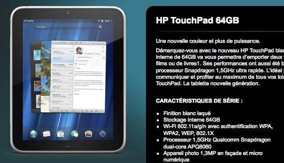 HP giới thiệu TouchPad phiên bản 64GB, giá 860USD